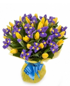 Букет: ирисы, тюльпаны